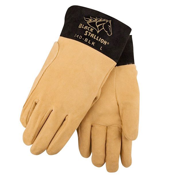 CAMP HOUSE/Premium Split Deerskin TIG Welding Gloves DragPatch® Short Cuff